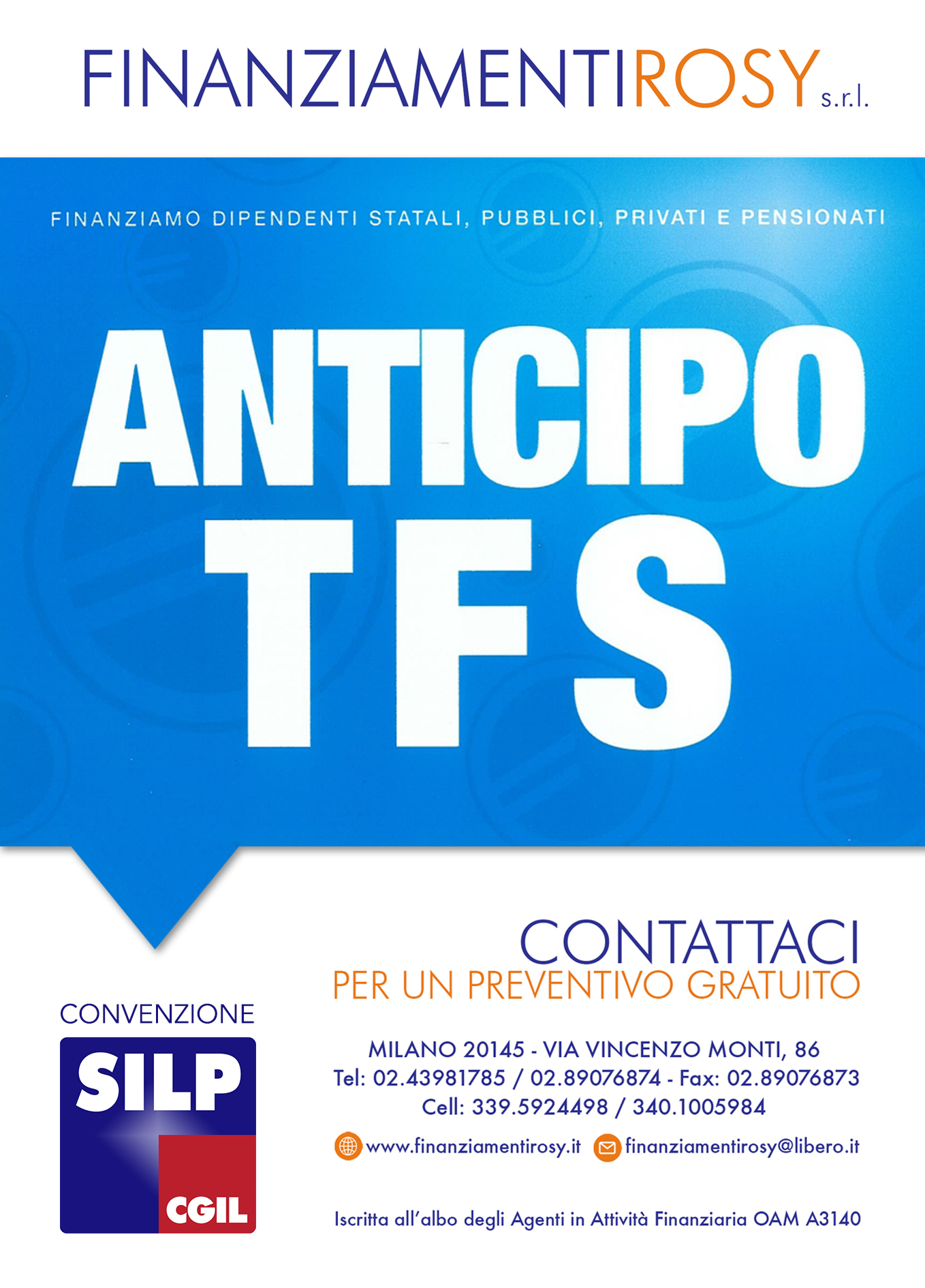 Finanziamenti Rosy, convenzione SILP CGIL per ANTICIPO TFS